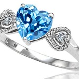 Genuine Topaz Heart Shape Engagement Promise