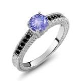 Tanzanite Diamond Sterling Silver Engagement